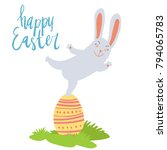 happy easter card template with ... | Shutterstock .eps vector #794065783