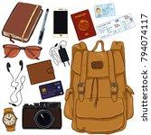 vector cartoon color travel set.... | Shutterstock .eps vector #794074117