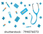 set of different medical tools... | Shutterstock .eps vector #794076073