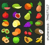 fruits vegetable food color... | Shutterstock .eps vector #794077117