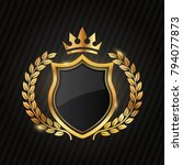 premium luxury gold label... | Shutterstock .eps vector #794077873