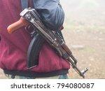 a kalashnikov carried by a... | Shutterstock . vector #794080087