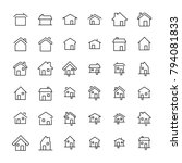 set of 36 home thin line icons. ... | Shutterstock .eps vector #794081833