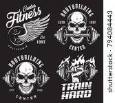 set of bodybuilding emblems... | Shutterstock .eps vector #794084443