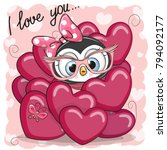 valentine card with cute... | Shutterstock .eps vector #794092177
