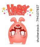 greeting card for birthday with ... | Shutterstock .eps vector #794107837