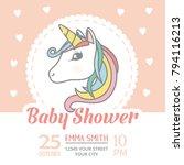 baby shower invitation card... | Shutterstock .eps vector #794116213