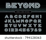 vector of futuristic alphabet... | Shutterstock .eps vector #794128363