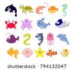 big vector set of sea creatures.... | Shutterstock .eps vector #794132047