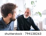 hipster son and his senior... | Shutterstock . vector #794138263