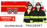 couple of fireman and firewoman ... | Shutterstock .eps vector #794139097