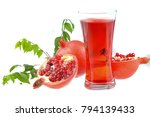 pomegranate with leaves   Shutterstock . vector #794139433