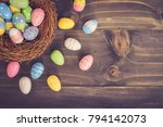 coloeful easter eggs in neat on ...   Shutterstock . vector #794142073
