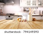 table background and cook hat  | Shutterstock . vector #794149393