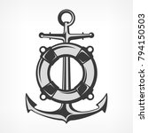 anchor with lifebuoy  nautical... | Shutterstock .eps vector #794150503