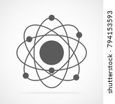 atom icon in flat design. gray... | Shutterstock .eps vector #794153593