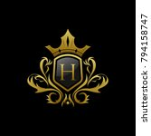 luxurious gold letter h crown... | Shutterstock .eps vector #794158747
