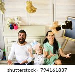 mother  father and son sitting... | Shutterstock . vector #794161837