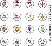 line vector icon set   santa...
