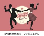 swing party time  silhouettes... | Shutterstock .eps vector #794181247