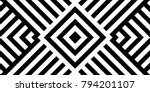 Seamless pattern with striped black white diagonal lines (zigzag, chevron). Rhomboid scales. Optical illusion effect. Geometric tile in op art. Vector illusive background. Futuristic vibrant design. | Shutterstock vector #794201107