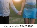 mother and son holding hand in... | Shutterstock . vector #794205283