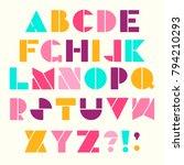 vector alphabet in retro style. ... | Shutterstock .eps vector #794210293