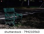benches in public park at night ... | Shutterstock . vector #794210563