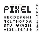 pixel alphabet letters   number ... | Shutterstock .eps vector #794215993