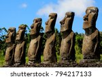 moai statues in the easter... | Shutterstock . vector #794217133