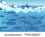 silhouette of a trawler ... | Shutterstock .eps vector #794230837