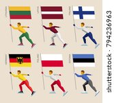 set of simple flat athletes... | Shutterstock .eps vector #794236963