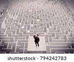 a confused businessman thinking ... | Shutterstock . vector #794242783