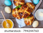 easter cross buns  decorated... | Shutterstock . vector #794244763
