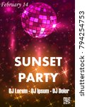 disco night party vector poster ... | Shutterstock .eps vector #794254753