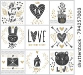 set with vector greeting cards... | Shutterstock .eps vector #794257003
