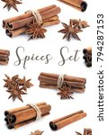 cinnamon stick group with star... | Shutterstock . vector #794287153