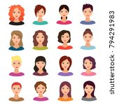 woman with different hairstyle. ... | Shutterstock .eps vector #794291983