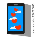 flying lovers red hearts on the ... | Shutterstock .eps vector #794292403