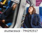 traveler woman funny sleeping...   Shutterstock . vector #794292517