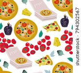 hand drawn tasty pizza and... | Shutterstock .eps vector #794302567