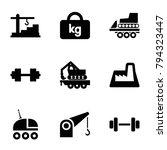 heavy icons. set of 9 editable... | Shutterstock .eps vector #794323447