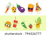 funny vegetables and fast food  ... | Shutterstock .eps vector #794326777