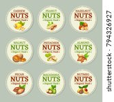 set of nuts labels. vector... | Shutterstock .eps vector #794326927