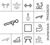 gym icons. set of 13 editable... | Shutterstock .eps vector #794328253