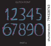 font set with numbers in glitch ... | Shutterstock .eps vector #794328763