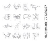 japanese origami paper animals...   Shutterstock .eps vector #794330377