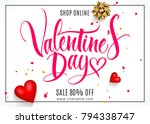 valentine's day background with ... | Shutterstock .eps vector #794338747