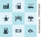 set of 9 station filled icons... | Shutterstock .eps vector #794341663