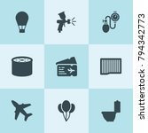 set of 9 air filled icons such... | Shutterstock .eps vector #794342773